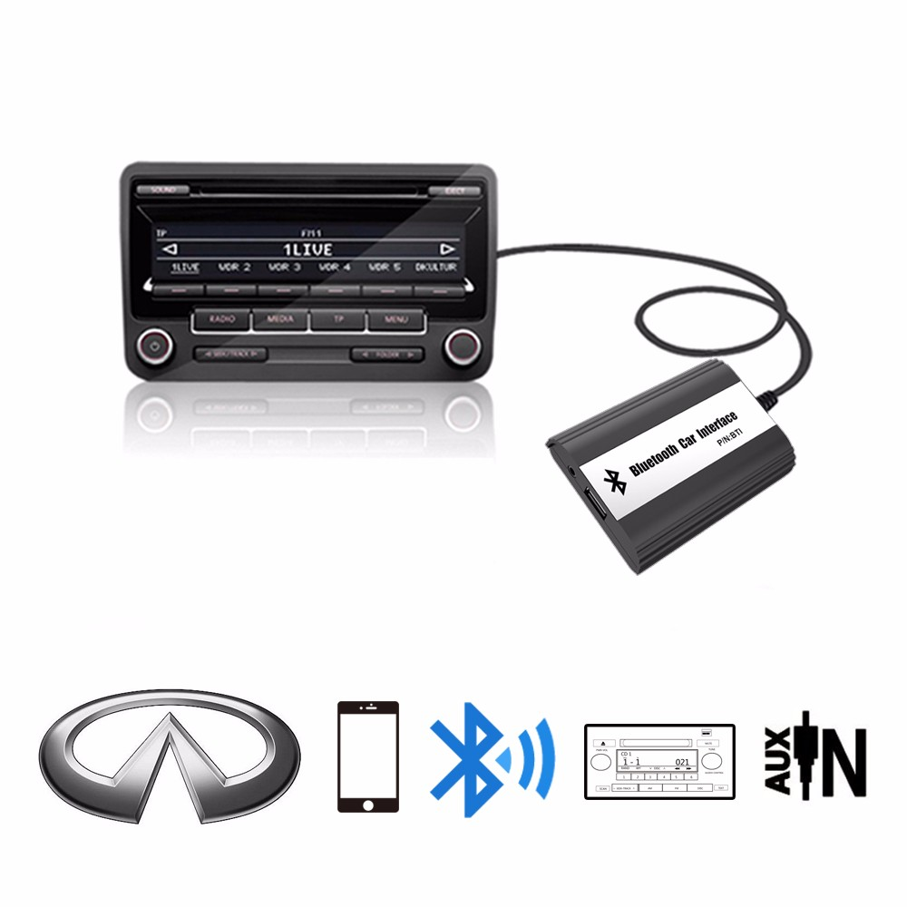 Apps2car AUX USB Bluetooth Adapter Digital Music MP3 Player Changer for Infiniti FX35/FX45, G35, G37, QX56, EX35