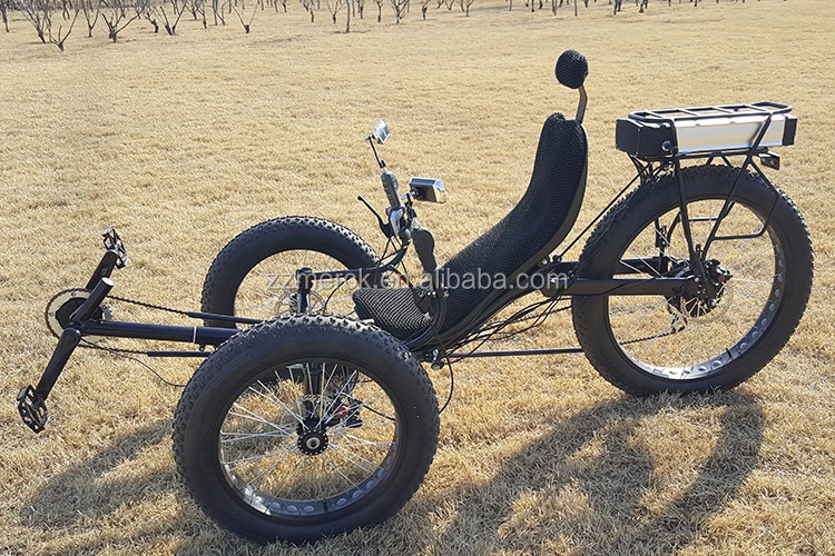 26 500w 7 Speed Snow Beach Fat Tire Electric Recumbent Bike With