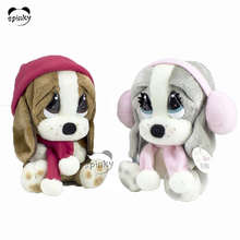 Big eyes plush dog toy farm animal cartoon plush animal dog with fur hats