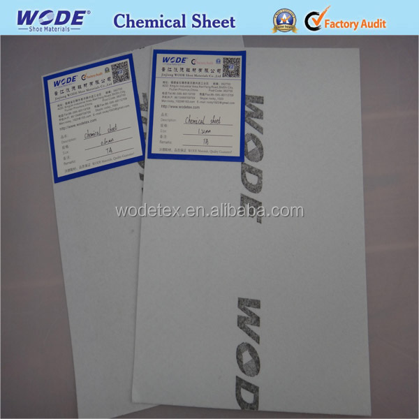 Shoe nonwoven solvent chemical sheet as inner lining for toe puff and back counter