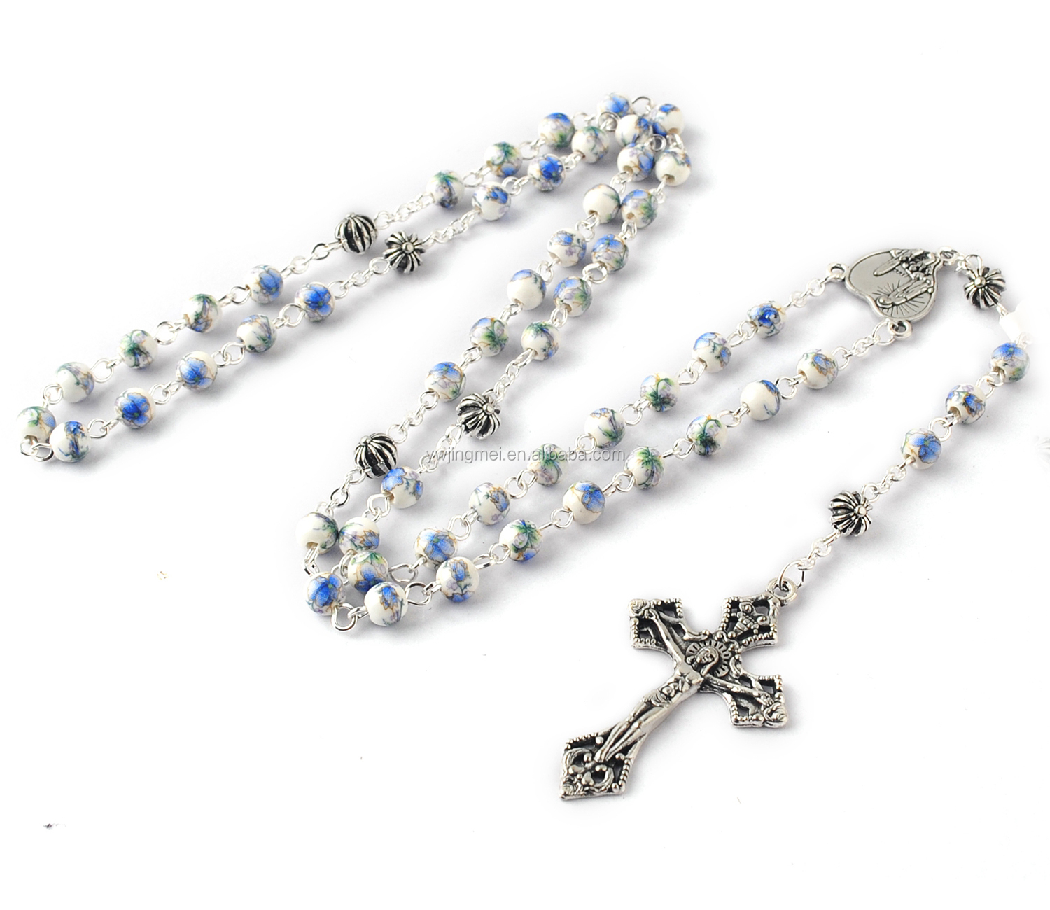 6mm Light Blue Ceramic Beads with Flower Painting with Anti-Silver Cross Glory Beads Rosary Necklace for Boy First Rosary
