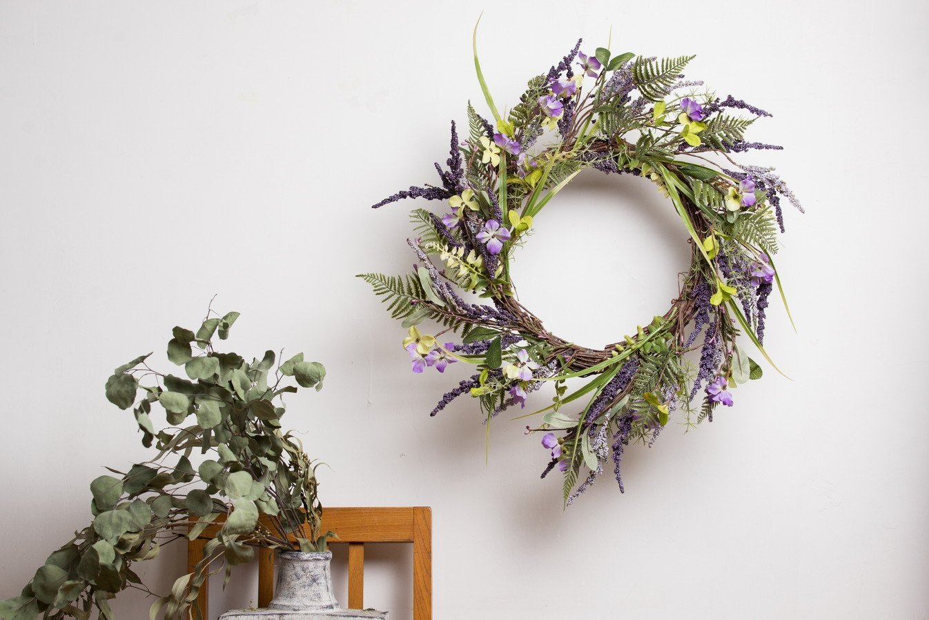 Evertrust Artificial Easter Spring Summer Seasonal Door Silk Flower Wreath  Wall Hanging Decorations (Lavender 009