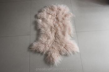 Mongolian Lambskin Fur Pelt In Rug Form Professionally Dyed Whole Unsewn Piece Lamb Pelts