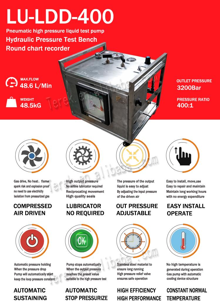 Equipamentos De Teste hidrostático Bomba de Alta Pressão Hidráulica Com Registrador Gráfico
