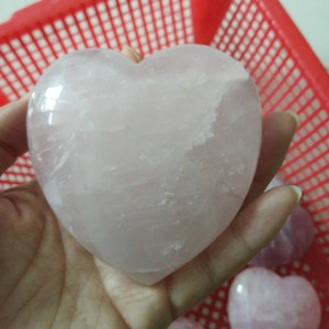 Polished large natural rose quartz crystal heart shaped rocks puffy hearts