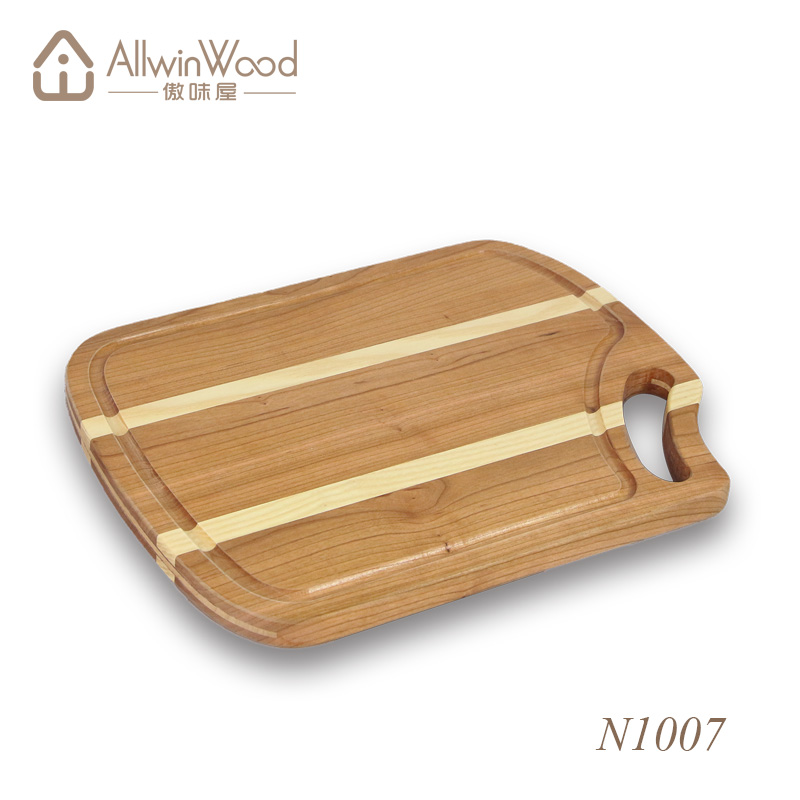 Cherry and maple edge grain cutting board in hardwood variety