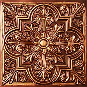 Drop Ceiling Tiles 2x2 #302 Antique Copper Faux Plastic Fire Rated,class A, Can Be Glued on Any Flat Surface. Suspended Ceiling! nail On,staple On,tape On,glue On!cheap. Venetian Tile.Decorative.