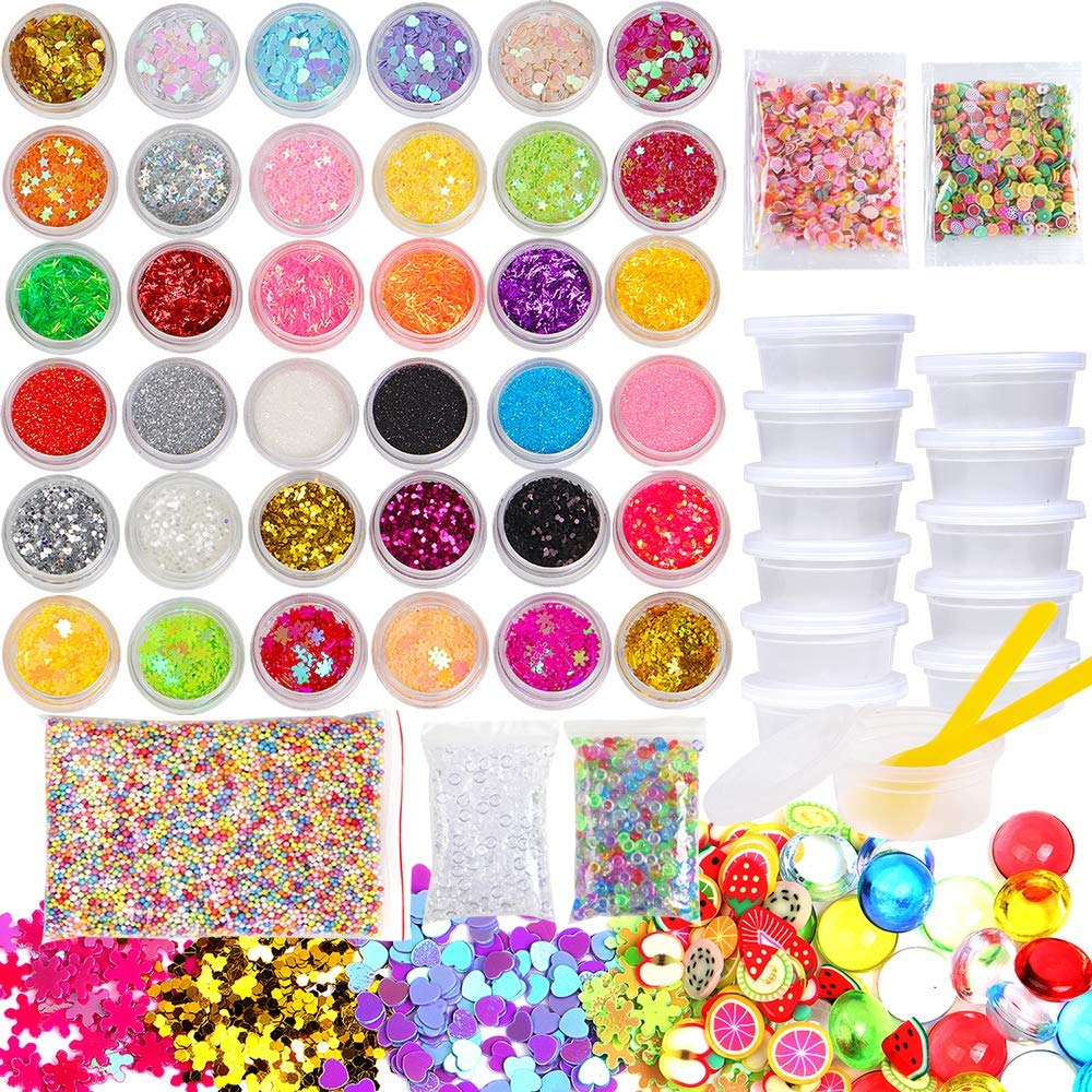 Slime Supplies Kit, 53 Pack Slime Making Supplies, Include Slime Glitter Jars, Foam Balls, Fishbowl Beads, Fruit Cake Slices, Slime Containers, Slime Accessories for Slime Art DIY Craft by INFELING