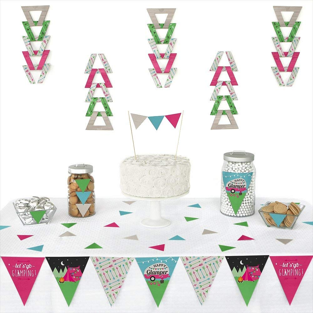 Let's Go Glamping - Triangle Camp Glamp Party or Birthday Party Decoration Kit - 72 Piece