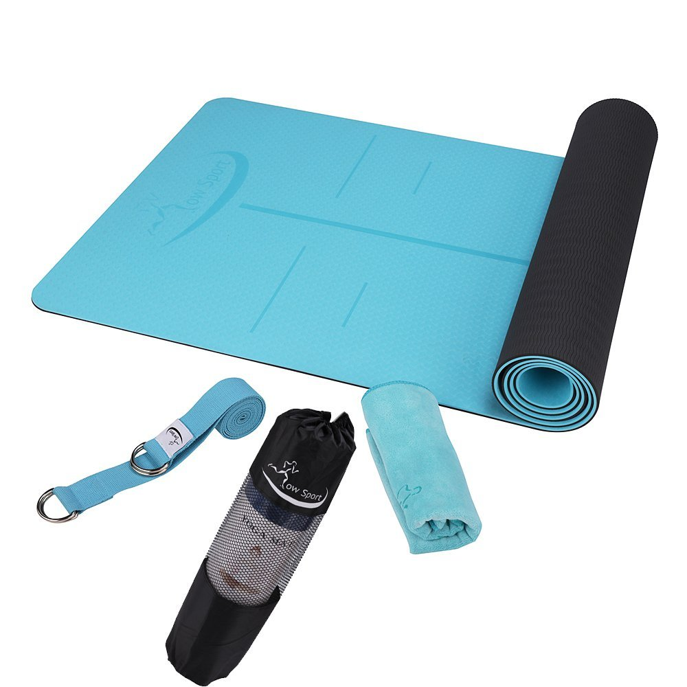 Hot Yoga Mat Set by Low Sport - 100% TPE Yoga Mat, Strap & Carrying Bag + Free Bonus Yoga Hand Towel. Non Slip, Eco-Friendly,Super Elastic,Yoga Mats For Women & Men, Alignment Line-Blue,Pink,Turquoise