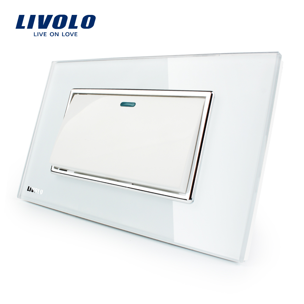 Manufacturer Livolo Luxury White Crystal Glass Panel Push button 1 Gang 2 Way switch VL-C3K1S-81