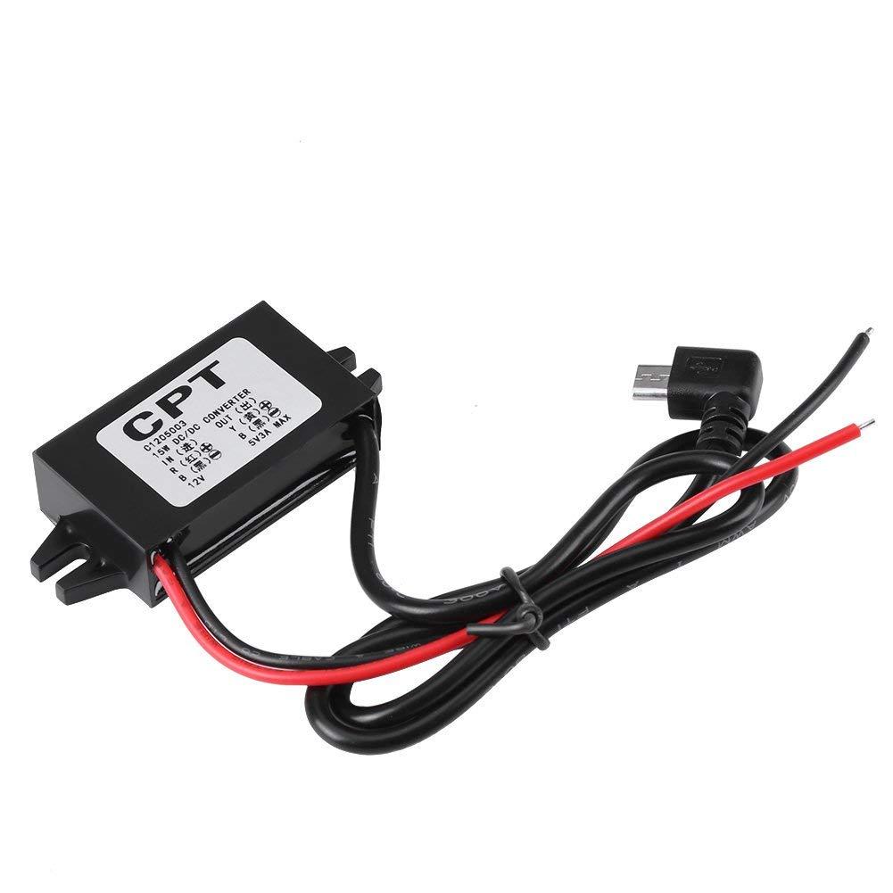Convertidor de voltaje para autom/óvil CPT DC-DC 12V a 5V 3A Convertidor Micro USB Regulador reductor de voltaje para el tel/éfono inteligente para autos