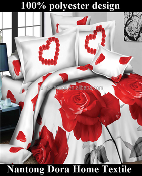 Amazing Charming Heart Shaped Red Rose Brand Name Bed Sheets 100% Polyester 3d Bed  Quilt