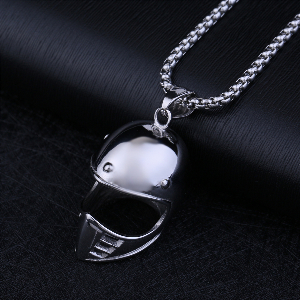 NS 065 Yiwu Huilin Jewelry Top Polished gothic style men's 316L Stainless Steel 3D Helmet Pendant necklace