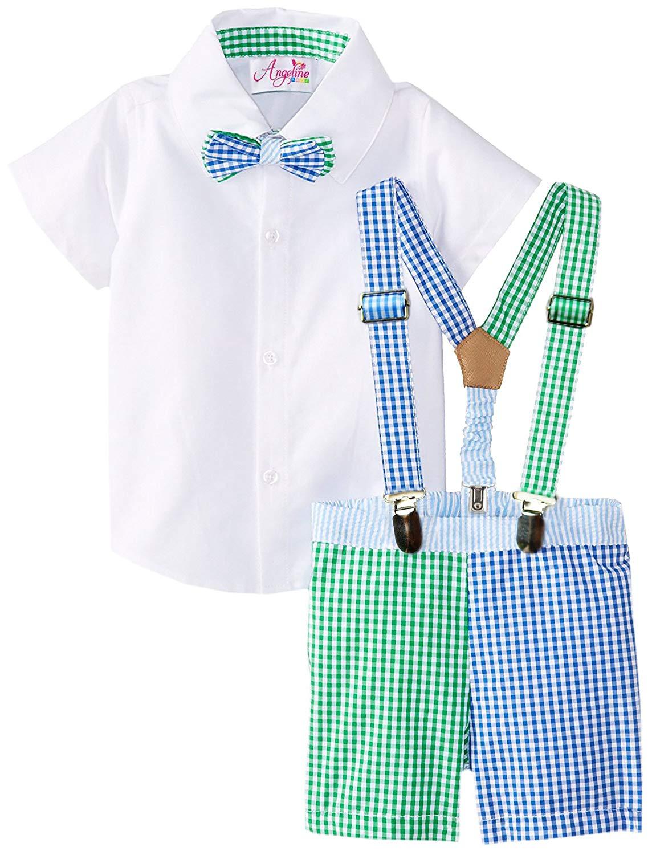 b0f74bd6b7a Get Quotations · Angeline Baby Toddler Boys 4 Piece Bowtie Suspender Short  Set