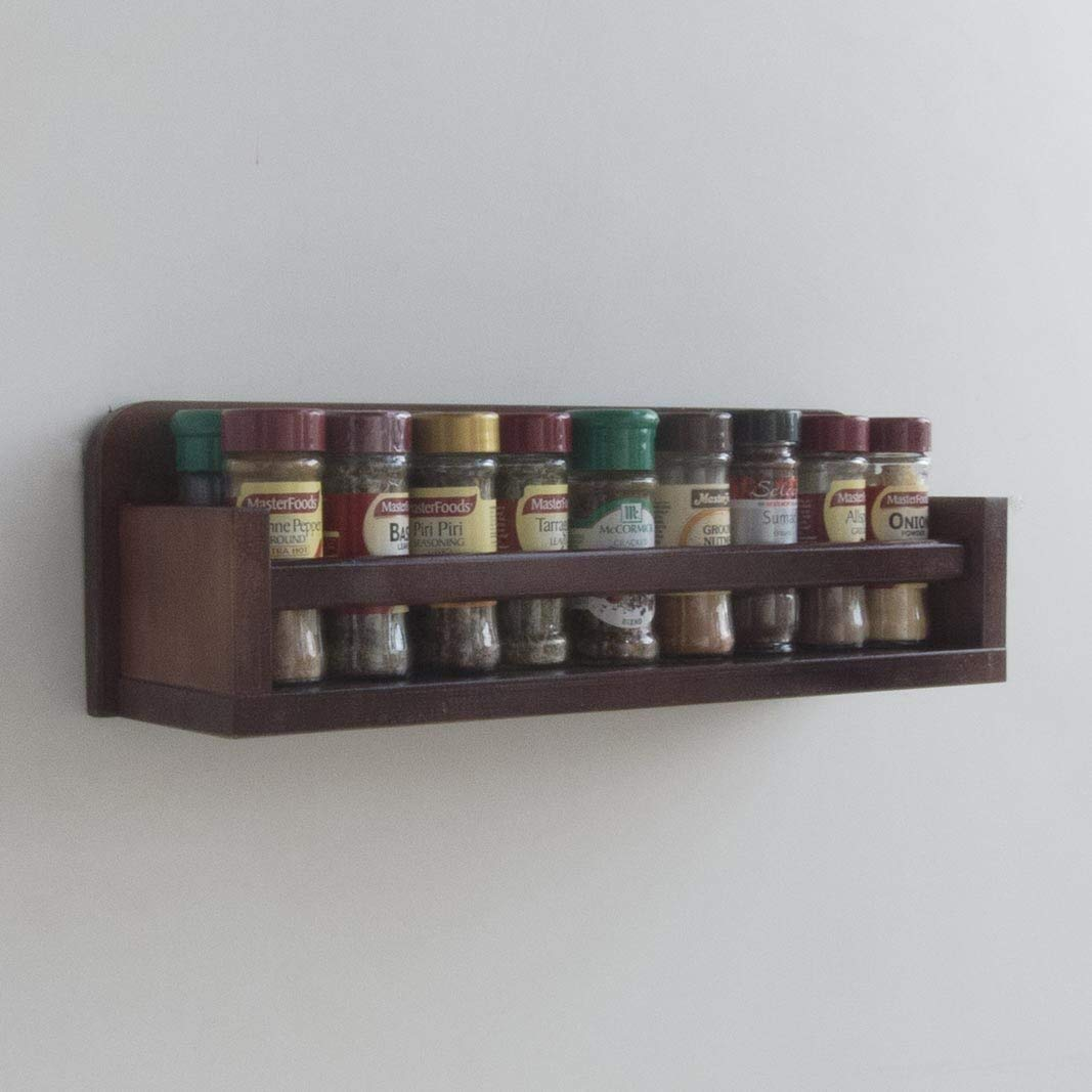 Spice Rack - Wooden - Open Top - 1 Tier - Timber Rail - 18 Spice Jars