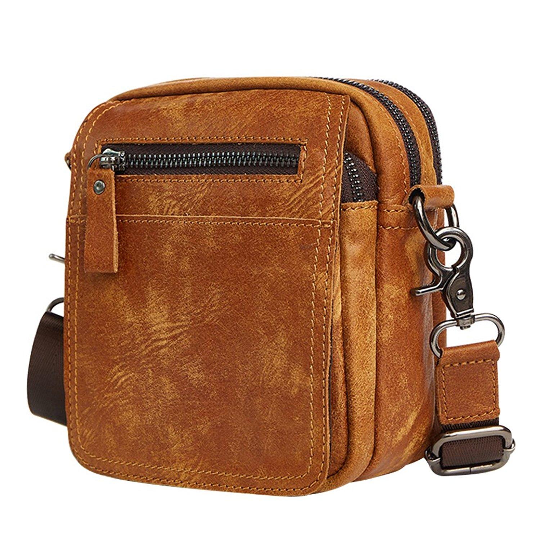 04e269080afc Get Quotations · Belt Holster Bag Leather Mens Waist Fanny Pack Small  Messenger Bag