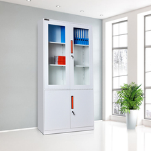 Manufacturer up swing glass door for steel storage filing cabinet