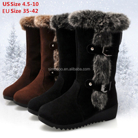 Plus Size 4.5-8.5 Women Winter Warm Fur Lined Wedge Snow Boots