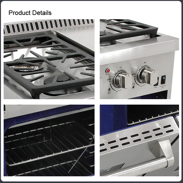 48-inch Double Oven Gas Ranges With 6 Burners