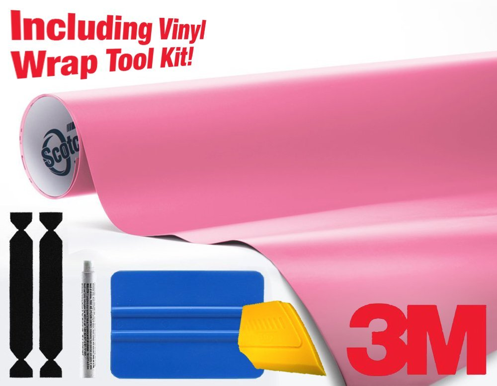 3M 1080 Matte Pink Air-Release Vinyl Wrap Roll Including Toolkit (25ft x 5ft)