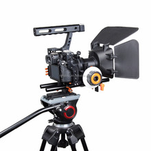 Miglior Portatile dslr video rig camera grip cage kit con box matte 15mm rod rig kit per Sony A7/A7II/<span class=keywords><strong>A7s</strong></span>/A7r/A7Rii Panasonic GH4