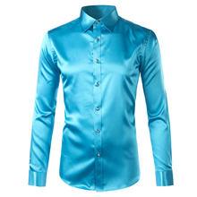 Мужская сатиновая Роскошная одежда, рубашки, 2020, брендовая, с длинным рукавом, гладкая, без морщин, смокинг, рубашка для мужчин, для свадьбы, в...(Китай)