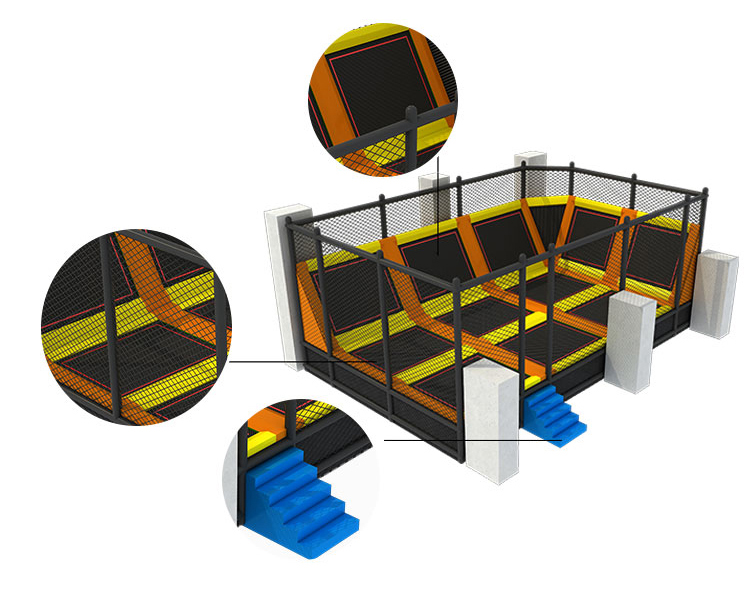 Children playground commercial indoor large bungee jumping trampoline park supplier