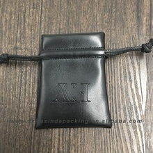 Small Embossed Soft Leather Jewelry Pouch With Embossed Logo