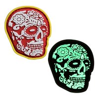 Wholesale Custom 2D/3D PVC Patch Skull Morale Glow In The Dark Soft PVC Rubber Patch