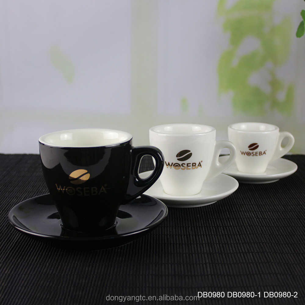 Factory direct wholesale porcelain black & white coffee cup and saucer