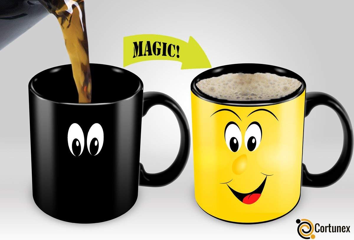 Heat Sensitive Mug | Color Changing Coffee Mug | Funny Coffee Cup | Funny Smiley Face Magic Mug 11oz black mug| Funny Coffee/Tea Cup | 100% Ceramic