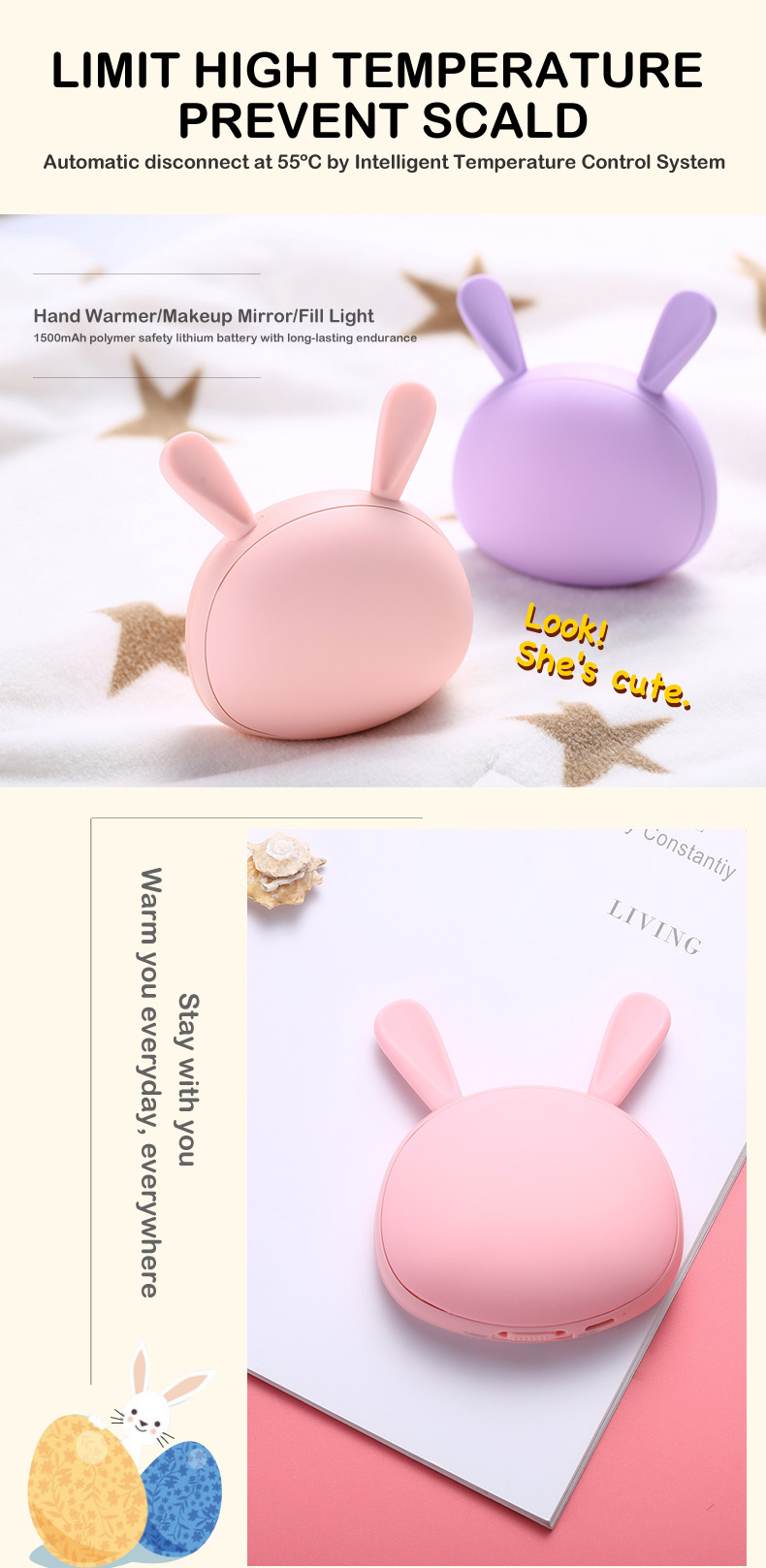 2018 Trending Products Silica Gel usb Rechargeable Hand Warmer with Makeup Mirror
