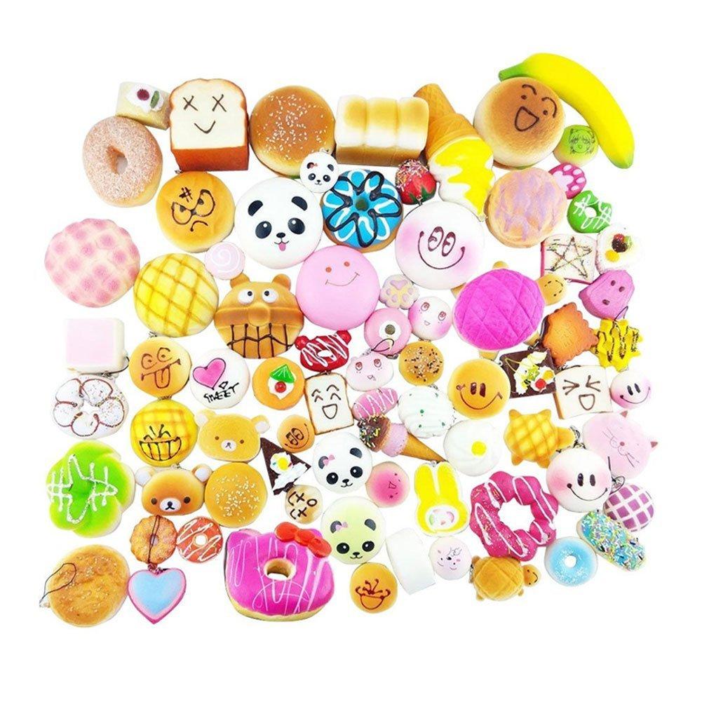 Shineweb Kawaii Squishies Toys 10 pcs Random - Giant Food Squishy Charms - Jumbo Medium Mini Soft Bread Buns Doughnuts - Slow Rising Stress Relief Toys Package - Phone Charm Key Chain Strap