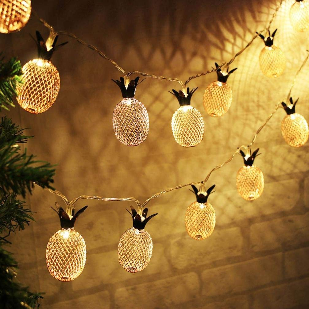 BananA_light BZ747 20 LED metal hollow pineapple holiday decoration string home pineapple decoration lamp curtain pineapple lamp string family party decoration Recommended: (20 LED)