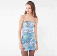 Hot Angel Cupid Print Transparent Dress Women Sexy Blue strap bodycon dress