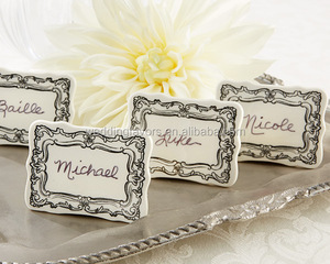 """Vintage Filigree"" Ceramic Place Marker"