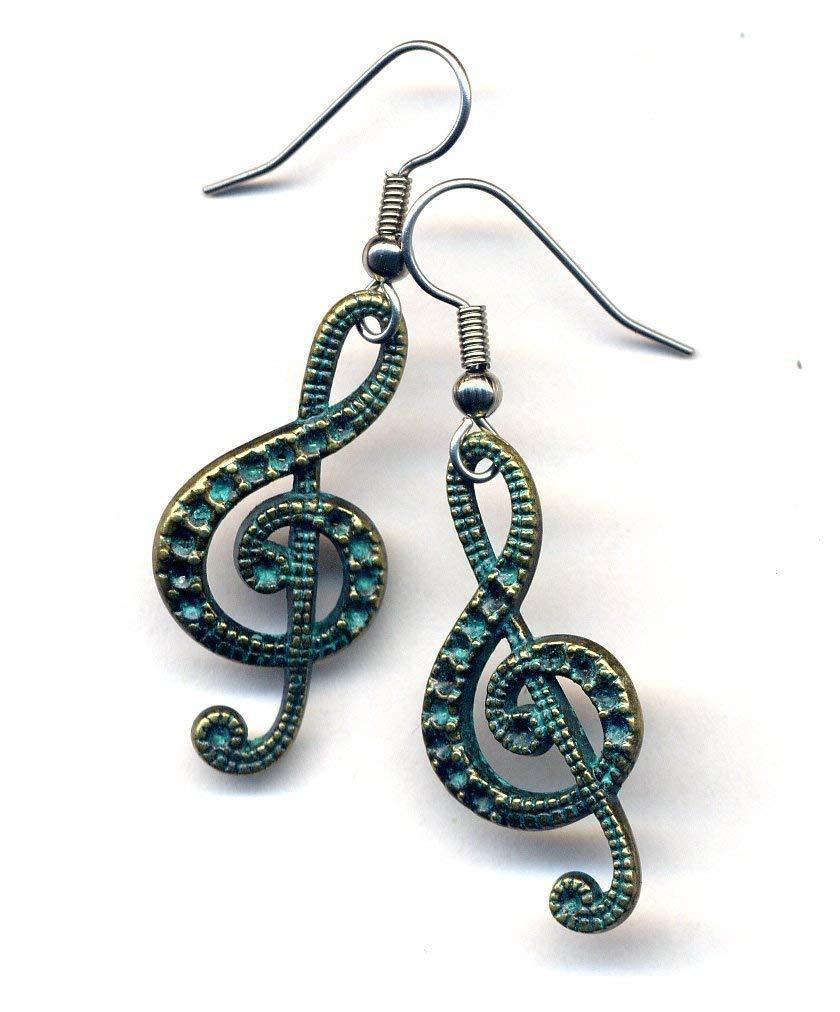 Clef Tremble Earrings, Music Earrings, Surgical Steel Earrings, Big Music Earrings, Rustic Patina Earrings, Handmade Jewelry by AnnaArt72