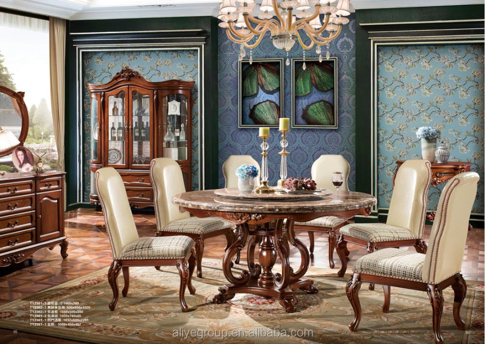 Tyzd881 11 Pedestal Dining Table Antique Diningroom Set Arabic Furniture In Usa Dinette