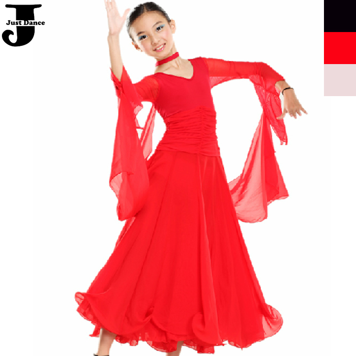e4ac72708e68 Get Quotations · 2015 New Ballroom Dance Dress Girls Long Sleeve Ballroom  Dresses Children Waltz/Jazz Dance Costumes
