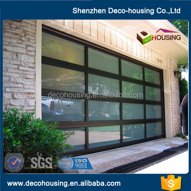 Modern garage door design electric sectional overhead folding aluminum silver frame glass panel garage door prices