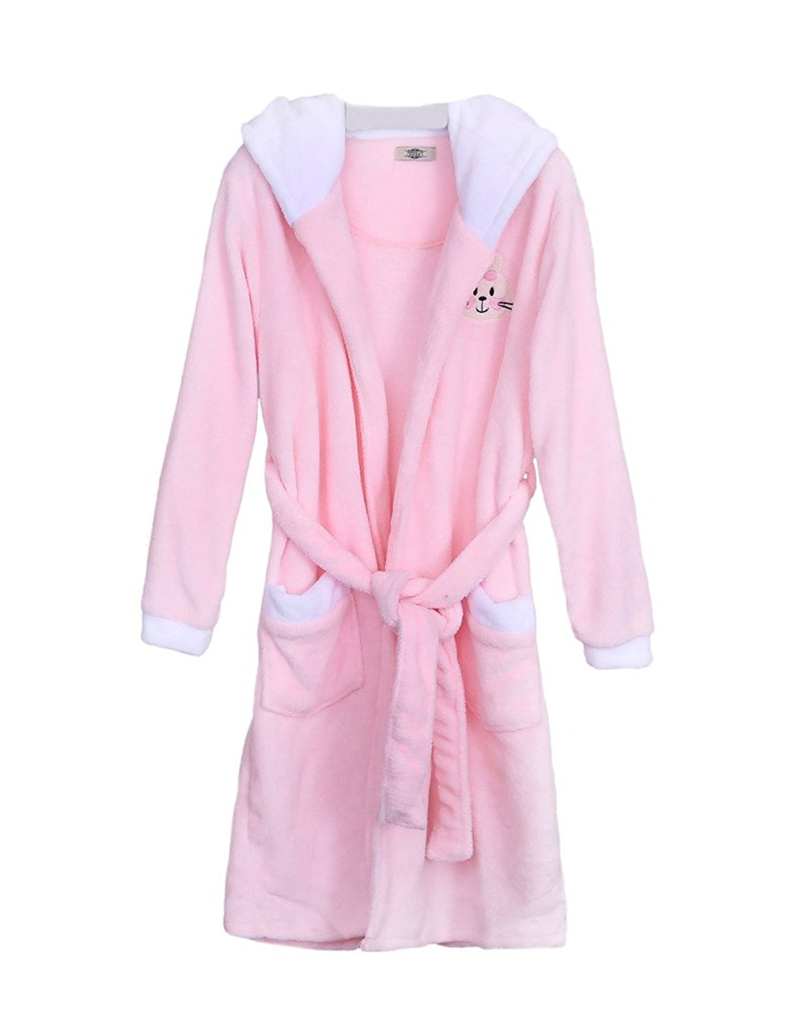 Get Quotations · ZANLICE Women s Coral Fleece Lounge Wear Hood Embroidery  Bathrobe With Belt 9441ff4d2