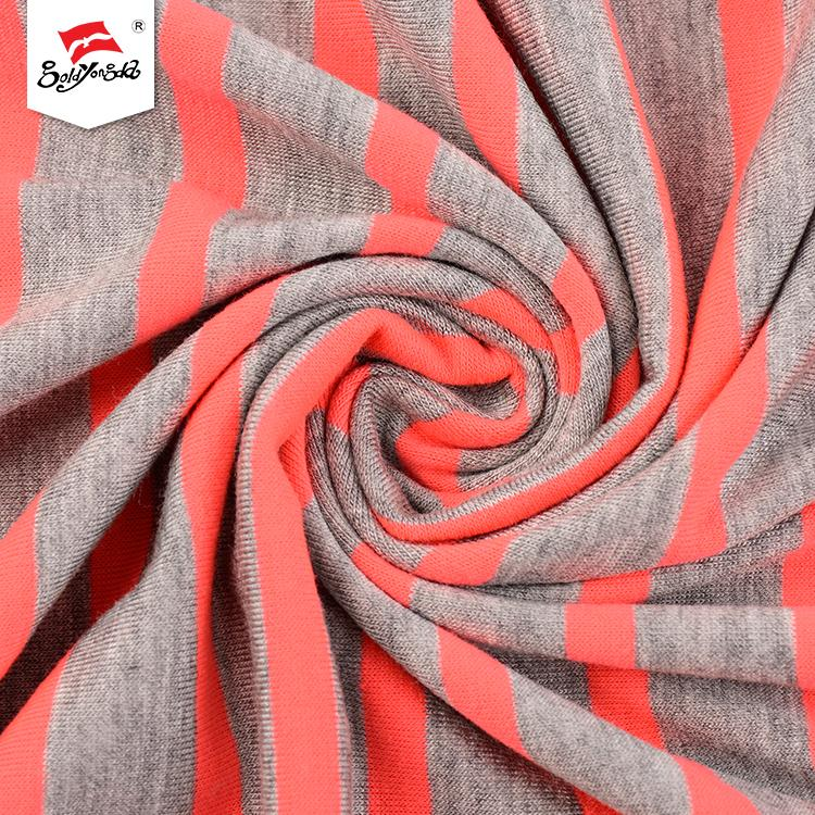 High quality custom logo elegant yarn dyed single jersey shirting stripe knit fabric for clothes