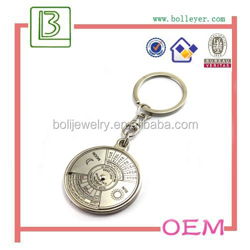 Unique Metal Key Chain Ring 50 Years Perpetual Calendar Keyring Keychain
