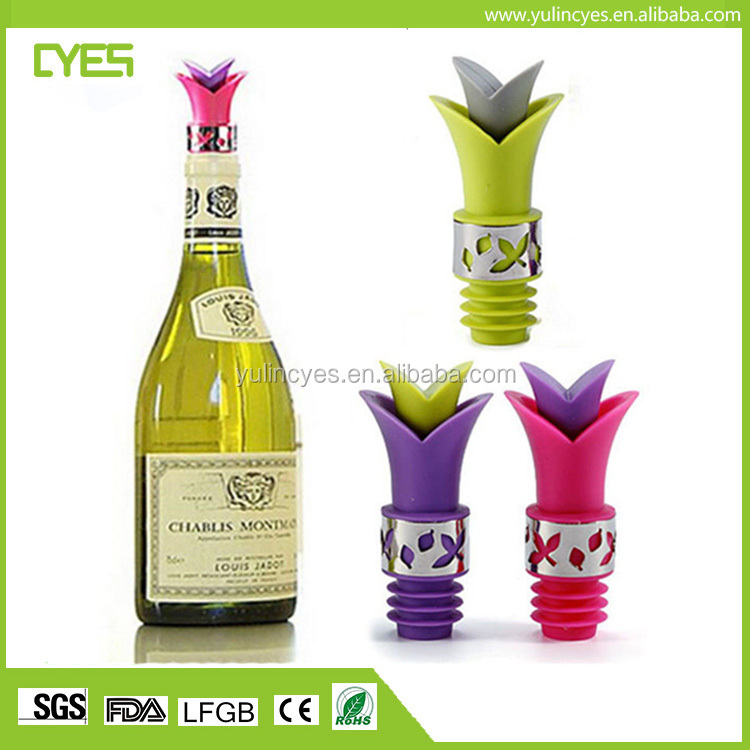 Wholesale silicone glass bottle stopper with pourer wine cork
