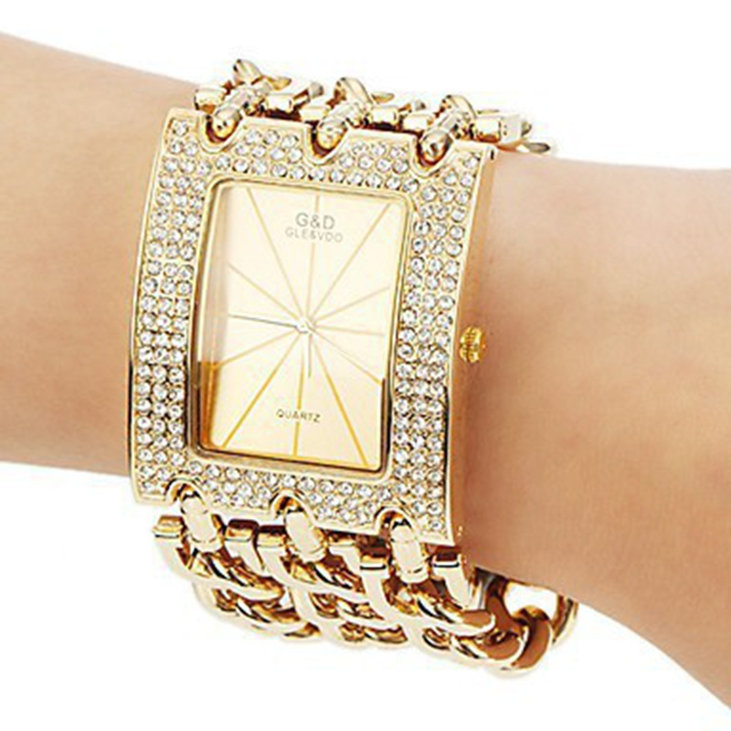 Classic Luxury Gold Plated Steel Quartz Dress Watches For