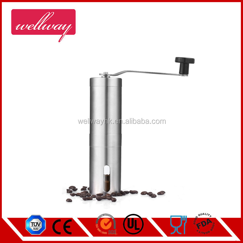 Manual Coffee Bean Grinder Made Of Stainless Steel With Conical Ceramic Burr - Easily Adjustable - Click Feature