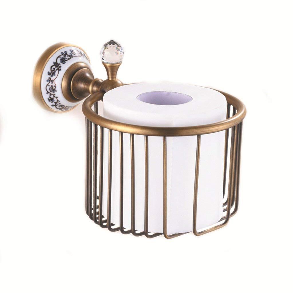 European-style copper sanitary tray, copper-colored paper holder, rose copper tissue basket, toilet paper holder, bathroom shelf.