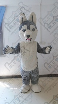 grey and white plush wolf mascot costumes