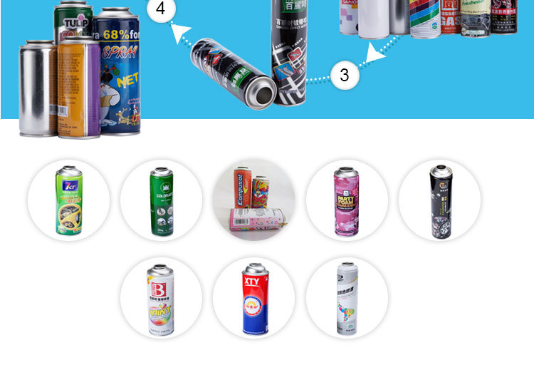 various sizes aerosol spray can